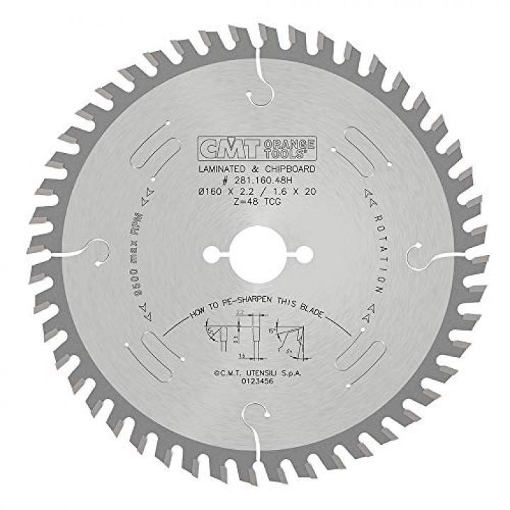 281.160.48H CMT Диск пильный 160X20X2,2/1,6 10° TCG Z=48