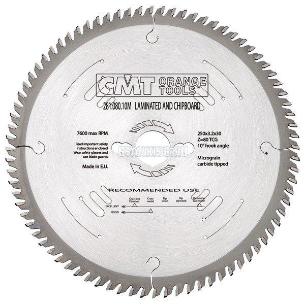 281.080.10M CMT Диск пильный 250x30x3,2/2,2 10º прямой-трапеция зуб Z=80