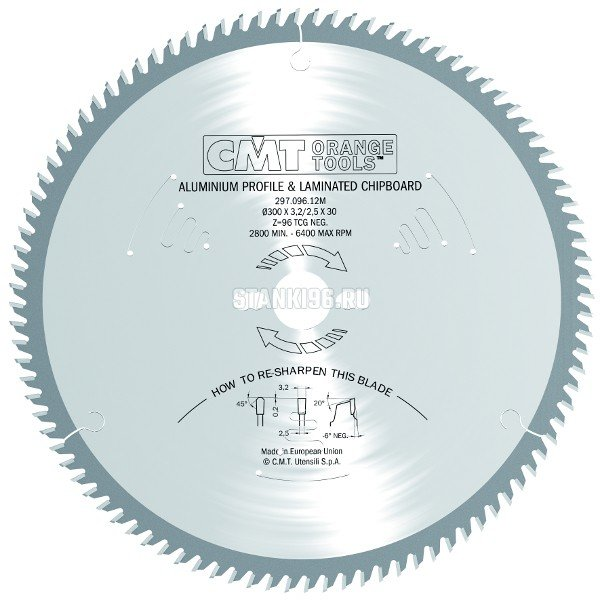 296.230.48M CMT Диск пильный 230x30x2,8/2,2 -6° прямой-трапеция зуб Z=48