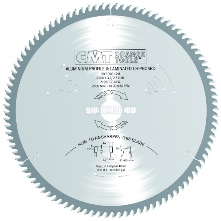 297.064.09M CMT Диск пильный 216x30x2,8/2,2 -6° прямой-трапеция зуб Z=64