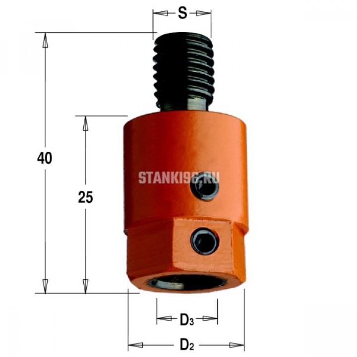 302.080.01 CMT Патрон для присадочного станка хвостовик S=M10 D раб.=8 правое вращение