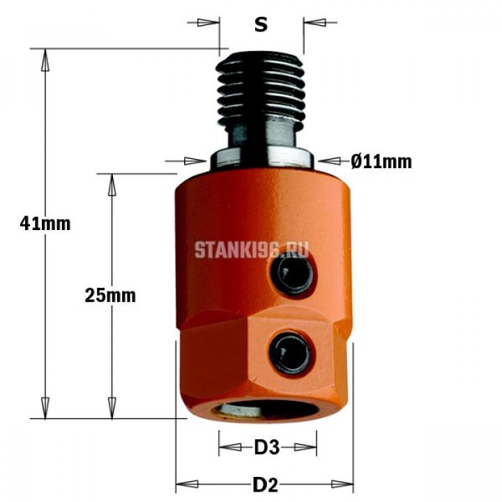 305.080.01 CMT Патрон для присадочного станка хвостовик S=M10/11 D раб.=8 правое вращение