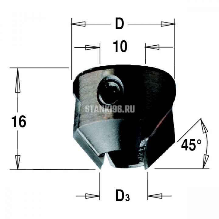 315.220.12 CMT Зенкер для сверла с твердосплавной напайкой Z2 D раб.=22 d=11-12 левое вращение