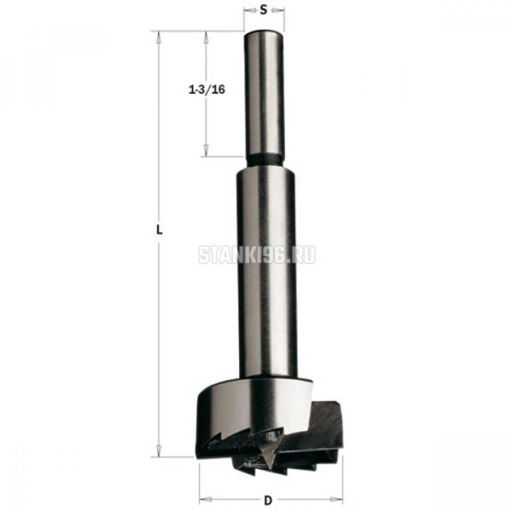 537.064.31 CMT Сверло Форстнера легированная сталь 6,35x90 Z=2+2 хвостовик S=9,52 правое вращение