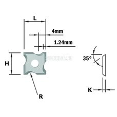 790.020.04 CMT Нож твердосплавный радиус=2 F1730 для фрезы 661.021.41