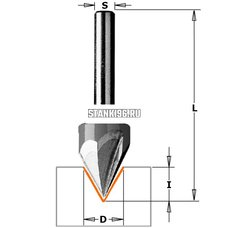 Фреза концевая пазовая для гравировки с углом 60гр. Z3 S8 D12,7 I13 L57 CMT PRO 958.1311