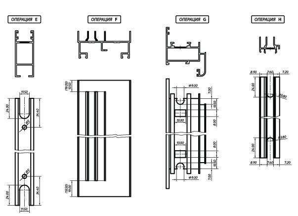 Операции пробивки алюминиевого профиля provedal С640 P400